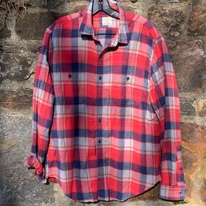J. Crew Red Flannel Large Button Down Shirt